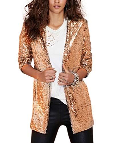 Onsoyours Chaquetas Traje Blazers para Mujer Casual Frente Abierto Lentejuelas Corta Chaqueta De Abrigo Blazer Brillante Degradado Elegantes Moda Outwear B Dorado 36
