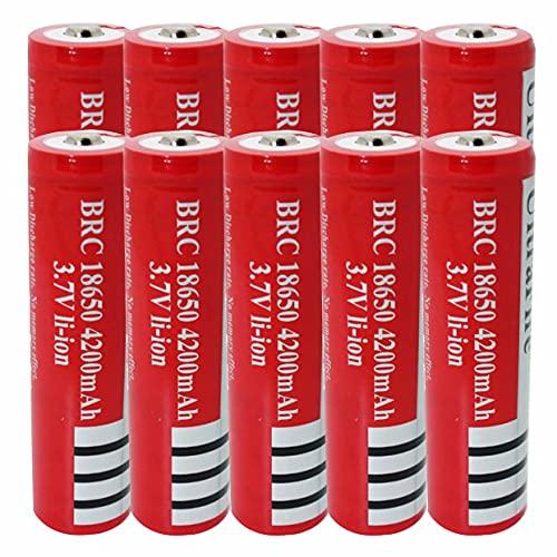 18650 baterías Recargable batería de Iones de Litio 4200mAh 3.7v ICR Batería de Litio Células Botones Baterías Recargables 18650 para antorcha de Linterna (10pcs)