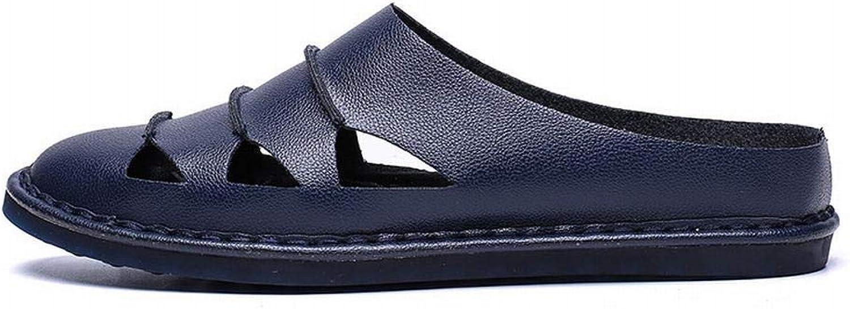 Ihåliga andningsbara, Casual Sandals, Baotou, Half Slippers Slippers Slippers herrar skor, Super -Skin läder.(Färg  Mörkblått, Storlek  42)  kommer att göra dig nöjd