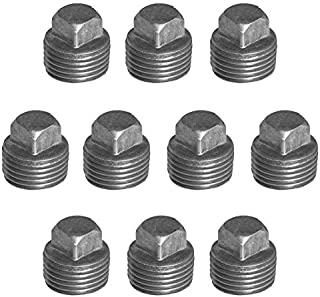 IBEUTES 10-Pack 1/2 Inch Black Square Cap Malleable Steel Pipe Fitting - Threaded Pipe Nipples For DIY Decor Or Industrial Vintage Style
