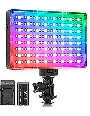 GVM led-camera met accu, RGB-camera, led-fotolicht, videolichtveld, CRI97 3200K-5600K voor DSLR camera, YouTube fotografie, led-videolicht, camera led-licht