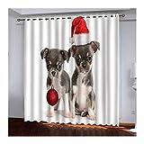 Daesar Cortinas Ventana Opaca Blanco Rojo Gris Cortinas Poliester Exterior Dos Perros con Sombrero de Navidad y Bolas 274x138CM