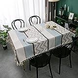 Juego de 1 Pieza de Mantel Moderno para el hogar, Mantel Rectangular con Borla, Lino, algodón, decoración para Dormitorio, Mantel 140x180cm B