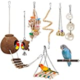 Bird Toy Parakeet Toy Perch Bird Cage Hammock Coconut Hideaway with Ladder Hanging Bell Swing Chewing Toy Hanging Toy for Parakeet,Conure,Cockatiel,Love Birds,Parrots (8 Pcs(with Mirror and Perch))