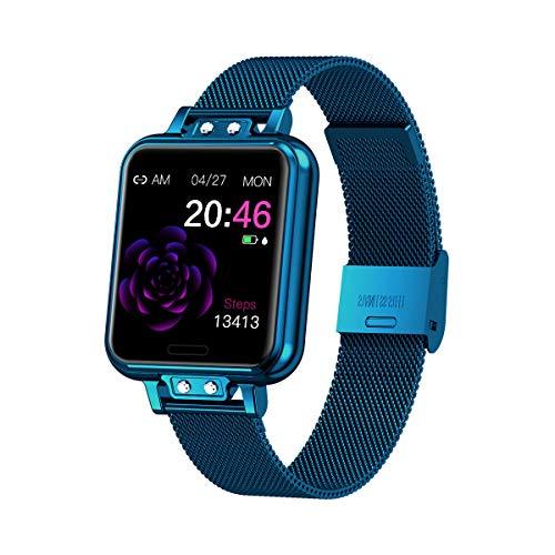 Aliwisdom Smartwatch für Damen Kinder, 1,22 Zoll Fashion Smartwatch Fitness Uhr Wasserdicht Sport Armbanduhr Fitness Tracker Metallarmband für iOS Android, Mit Whatsapp SMS-Lesefunktion (Blau)