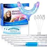 Teeth Whitening Kit OriHea Bleaching Zähne mit rot&blau 24 Blaues LED Licht,8 Rotes LED Lichtund 4 Zahnaufhellung Stifte 1 Desensibilisator gegen Rauchflecken Hause Zahnreinigung fürZahnbleaching-Weiß