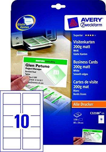 Avery Zweckform 150x Premium Visitenkarten 200g/m² matt 15x Bögen für A4 Drucker selbst drucken