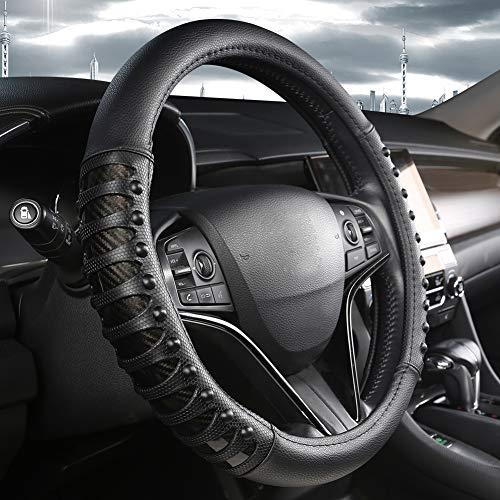 West Llama Auto Lenkrad Abdeckung mit Ledernägeln Anti-Rutsch-Design, Lenkradhülle 15 Zoll Universal Fit - Schwarz