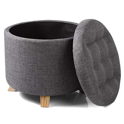 WOLTU Sitzhocker mit Stauraum Fußhocker Aufbewahrungsbox, Deckel Abnehmbar, Gepolsterte Sitzfläche aus Leinen, Massivholz, 44x41CM, Dunkelgrau, SH19dgr