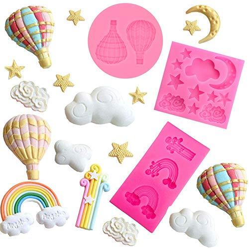mciskin Moldes de silicona para fondant Luna &Estrella &Nube, globos y arcoíris, para decorar tartas, chocolate, azúcar, dulces, hornear, etc.(3 piezas)