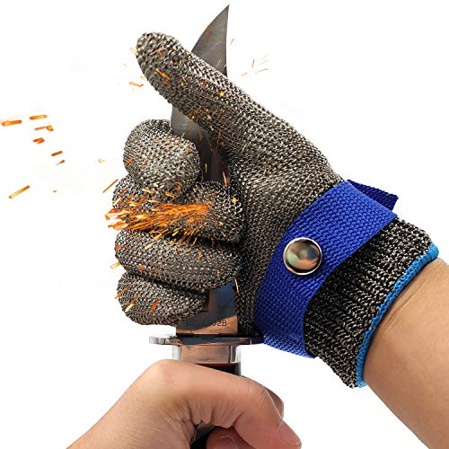 Cut Resistant Glove-Stainless Steel Wire Metal Mesh Butcher Safety Work Glove for Meat Cutting, fishing (Extra Large)