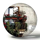 Hqiyaols Souvenir Italia Roma Piazza Navona Windows Maceta 3D Imán de Nevera Colección de Recuerdos Regalo de Viaje Círculo Cristal Imanes de Nevera