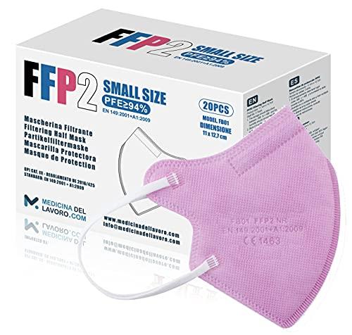 20 FFP2/KN95 Maske Rose CE Zertifiziert Kleine Größe Small, Medizinische Mask mit 4 Lagige Masken ohne Ventil, Staub- und Partikelschutzmaske, Atemschutzmaske mit Hoher BFE-Filtereffizienz≥95|20 Stück