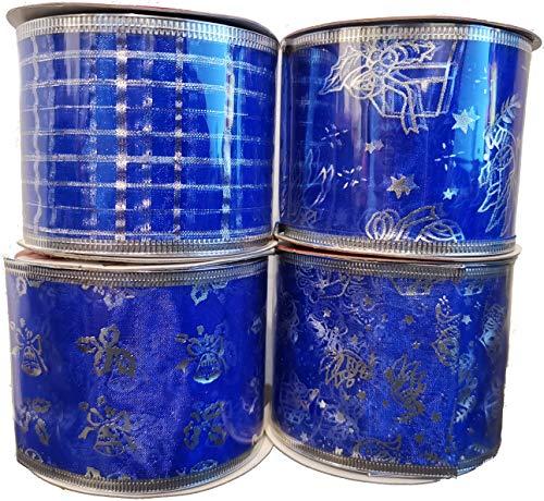 DUE ESSE SRL Set di 4 Rotoli (270 cm cad.) Nastro Decorativo per Pacchi Semi-Trasparente Simil-Organza (h. 6.3cm - Blu/Natale)