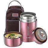 En Acier Inoxydable Boîtes Alimentaires Isothermes, 800ml Lunch box, sans bpa,Isotherme repas chaud, Récipient alimentaire isotherme Avec sac (Rose Golden)