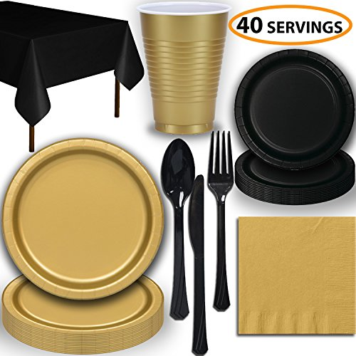Disposable Party Supplies, Serves 40 - Gold and Black - Large and Small Paper Plates, 12 oz Plastic Cups, heavyweight Cutlery, Napkins, and Tablecloths. Full Two-Tone Tableware Set
