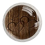 Love Heart Carved Wood Board | 4-Pack of ABS Resin Kitchen Cabinet Knobs Pulls Round Printing Dresser Knobs Drawer Handles Cabinet Door Knobs
