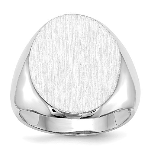Diamond2deal Oro bianco 14K 20mm da uomo con sigillo anello 9