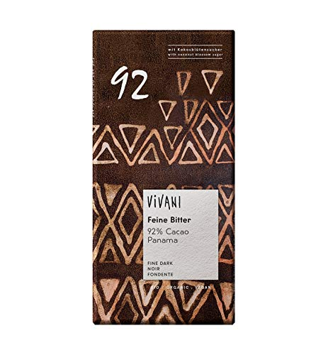 Vivani Bio Feine Bitter 92 % Cacao mit Kokosblütenzucker (6 x 80 gr)