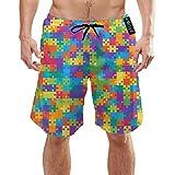Ye Hua Puzzle Rettangolo Contorno Puzzle Astratto Asciugamani da Bagno a Rapida Asciugatura Costumi da Bagno Elastici Lunghi Costumi da Bagno Costumi da Bagno con Tasche M