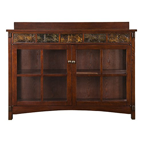 Camino Mission Sideboard & Curio - Red Washed Expresso Finish w/ Faux Slate - Spacious Design