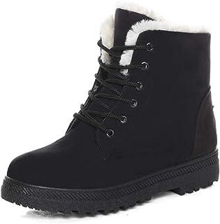 Susanny Suede Flat Platform Sneaker Shoes Plus Velvet Winter Women's Lace Up Cotton Snow Boots Black Size: 9
