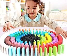 Seven Moon Good Quality Wooden Domino Run Board Building Blocks Educational Toys for Children Boy Girl Games Kids Gift - (...
