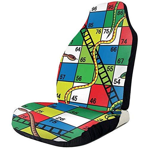 Du-shop Snakes and Ladders Brettspiel Black Cute Print Vordersitzbezüge Quick Dry Satteldecke Auto Sitzbezug