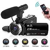 Camcorder Video Camera 2.7K WiFi Vlogging Camera Night Vision Digital Camera with Microphone