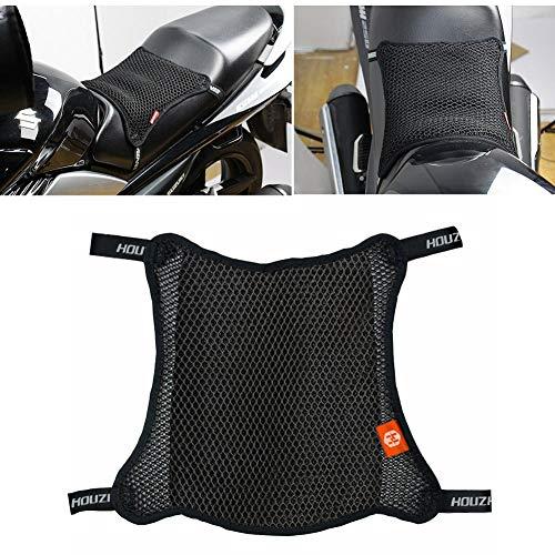 dream-cool 3D-Mesh-Motorrad-Sitzkissen - Atmungsaktiver Motorrad-Sitzbezug, 3D-Mesh-Netz-Sitzkissen, Rutschfester Moped-Sitzpolsterschutz für Motorrad, Schwarz