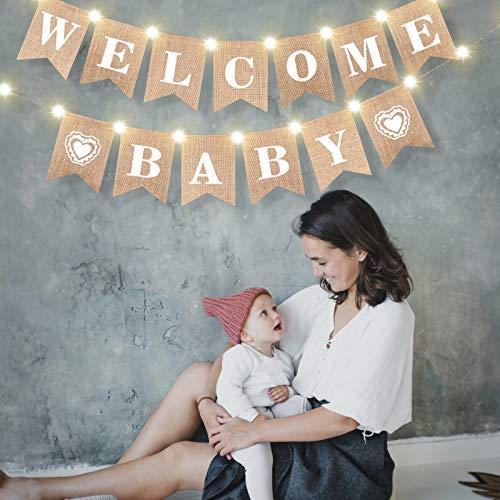 Pancarta Welcome Baby Banner de Empavesado Arpillera de Baby Shower con Luz LED de Cuerda de Hadas 8 Modos de Parpadeo, Accesorios de Cabina de Foto para Celebración de Baby Shower