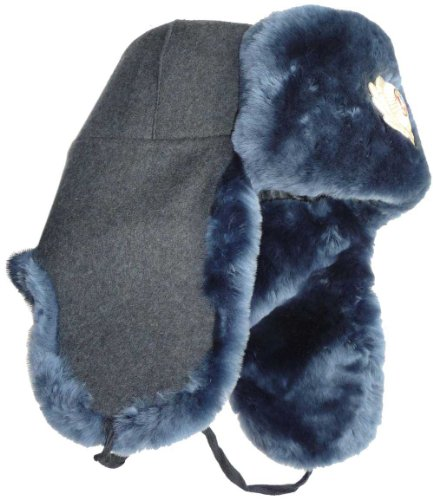 Ushanka company Russian Police Sheepskin Winter Hat-62 Army Officer Gray/Blue