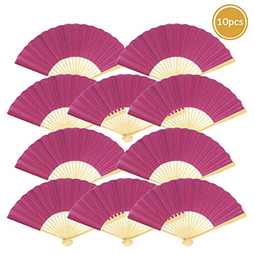 "Quasimoon PaperLanternStore.com 9"" Violet Silk Hand Fans for Weddings (10 Pack)"