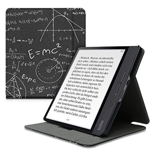 kwmobile Custodia Verticale e-Reader Compatibile con Kobo Forma - con Fascia e leggìo - Flip Case in Pelle PU - Proud Nerd Bianco/Nero