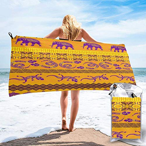 Beach Towels African Animal Sunrise Quick-Drying Towel 27.5 x 55 and 31.5 x 63 inches Super Soft Towel for Hotel Beach Swimming Trip