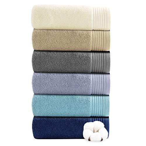 Juego de 6 toallas de mano para baño, 100% algodón puro, absorbentes, ultra suaves, gruesas, lujosas, para el cuerpo, invitados, peluquería, 3 colores (40 x 70 cm)
