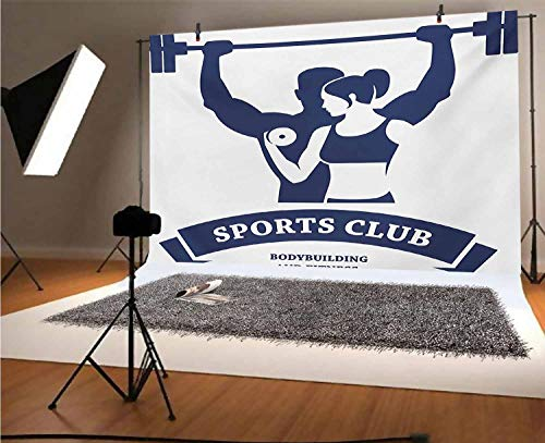 Fitness 7x5 FT Vinyl Photography Background Backdrops,Sports Bodybuilders Club Man and Woman with Dumbbells Muscles Biceps Form Background for Photo Backdrop Studio Props Photo Backdrop Wall