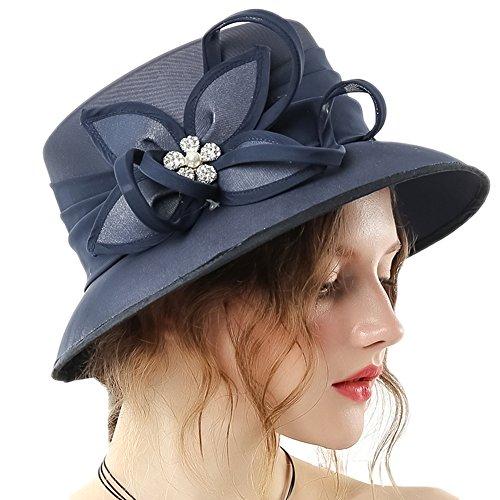 June's Young Women Church Hat Chiffon Elegant Bucket Hats Vintage (Navy-2)
