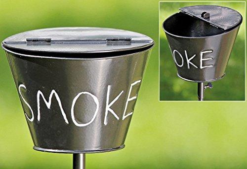 B&B Aschenbecher Stab Schwarz Eisen 110cm Smoke Garten Stock Gartenstab