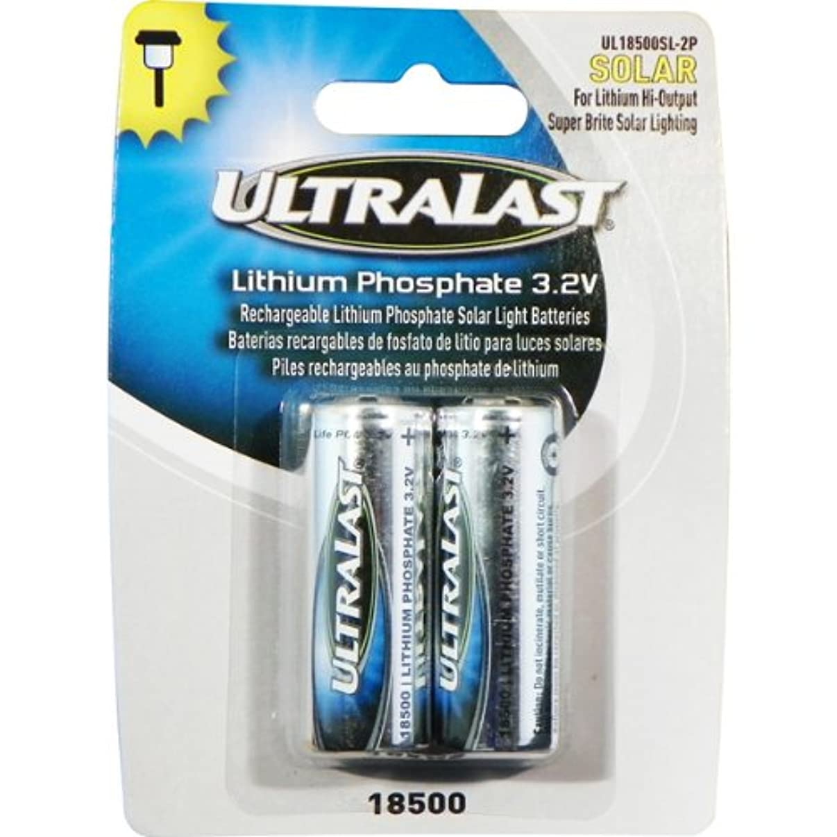 UltraLast Lithium Phosphate Rechargeable Batteries for 3.2 Volt Outdoor Solar Lighting - 1000mAh
