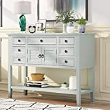 Pannow Console Table for Entryway Buffet Table Sideboard Sofa Table with Shutter Doors and 7 Storage Drawers, One Cabinets and Bottom Shelf for Living Room Kitchen