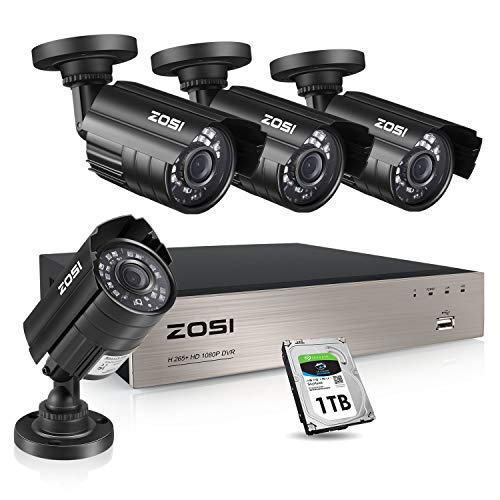 ZOSI 1080P Security Camera System with 1TB Hard Drive H.265+ 8CH Full 1080P HD Video DVR Recorder...