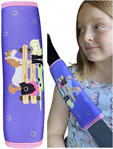 1x protector de cinturón de seguridad HECKBO® con preciosos dibujos de caballos, ponis y una granja: cinturón de seguridad, almohadilla para el hombro, funda de cinturón, asiento para el coche