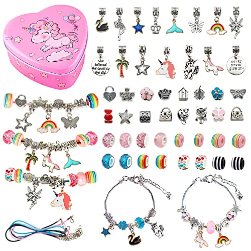 Bracelet Making Kit for Girls, Ouddy Charms Jewelry Making Supplies with Beads Snake Chain Diy Kits for Girls Bracelets DIY Craft, Jewelry Gift for Kids Girls Teens