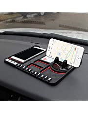 Lukzer 1 Pc Dashboard Mat Multifunction Stable Anti-Slip Car Phone Mount/Non-Slip Mat Phone Dashboard Pad Mat/Navigation Holder Tray with Parking Phone Number Applies (Red)