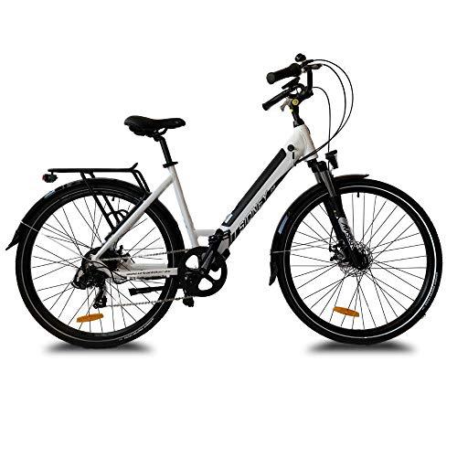 URBANBIKER Vélo électrique Ville Sidney,Blanc, 28'. Batterie Lithium (cellules Samsung) ION 504 Wh (14 Ah 36 V), 7 Vitesses.Freins hydrauliques.