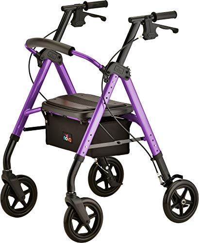 """NOVA Star DX Rollator Walker with Wide Padded Seat, 8"""" Wheels, Fold Lock Feature, Rolling Walker with Adjustable Seat Height & 350 lb Weight Capacity"""