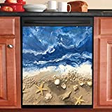 Dishwasher Cover Beach Vibe Yellow Sand Kitchen Decor Decorative Sticker for Dishwasher Fridge Door Decoration Vinyl Decal Sheet 23 W x 26 H inches Non-Magnetic