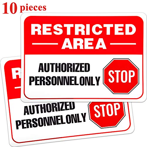10 Pieces Restricted Area Sign Authorized Personnel Only Sign Do Not Enter Sign Waterproof Vinyl Warning Sticker Sign, 10 x 7 Inches