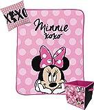 Jay Franco Disney Minnie Mouse XOXO Kids 3 Piece Storage Set Includes Plush Throw, Pillow, Collapsible Storage Bin (Official Disney Product)